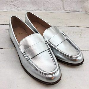 NEW J.Crew Ryan Penny Loafers SILVER Metallic 7
